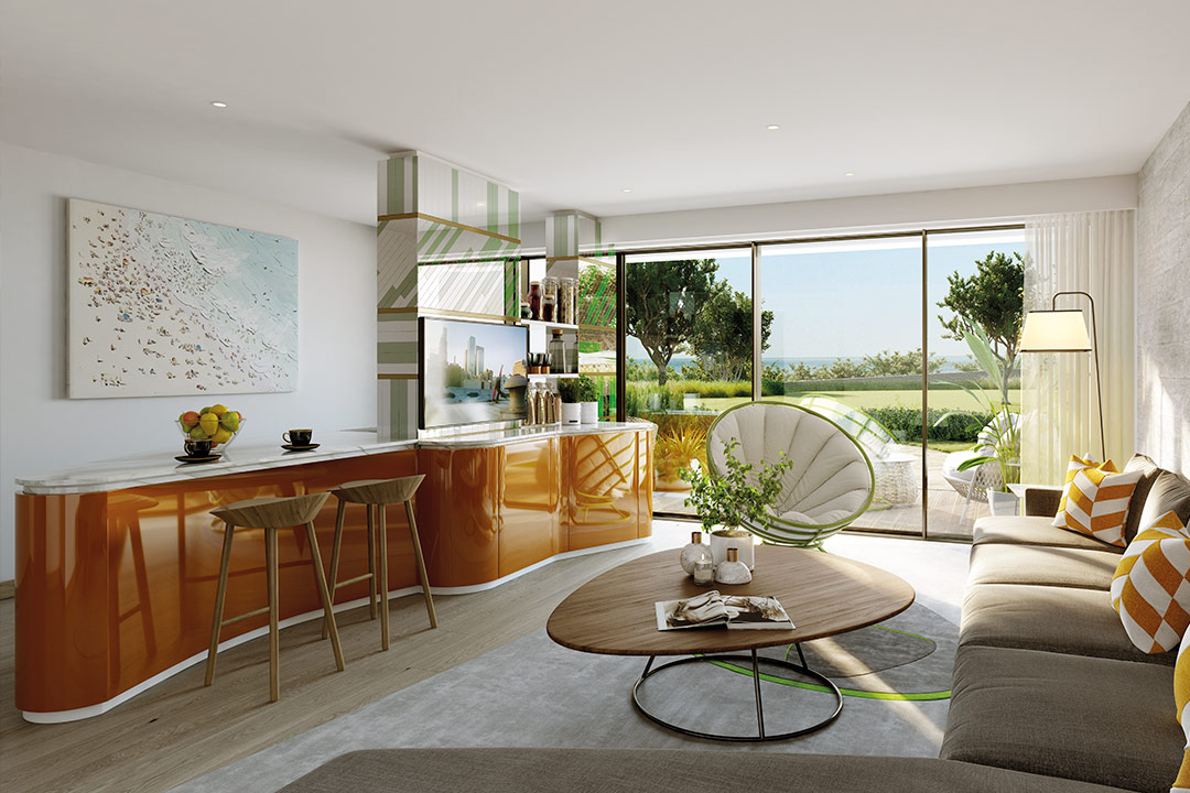 CGI of a One Bedroom Residence Living Room