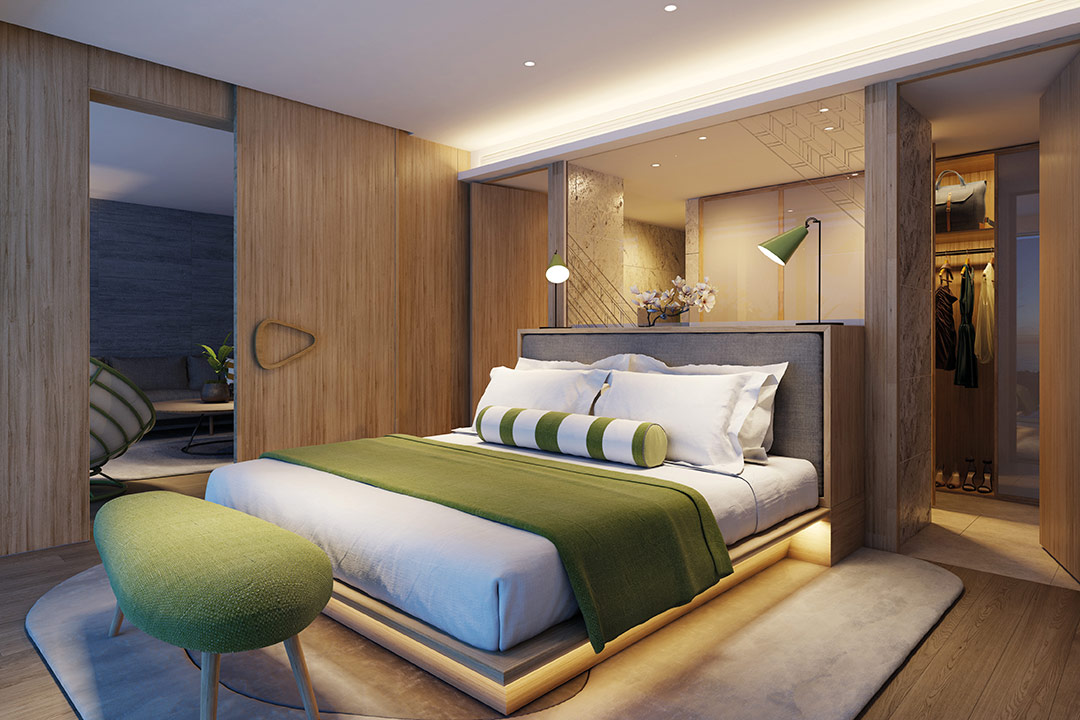 CGI of a Two Bedroom Residence Master Bedroom