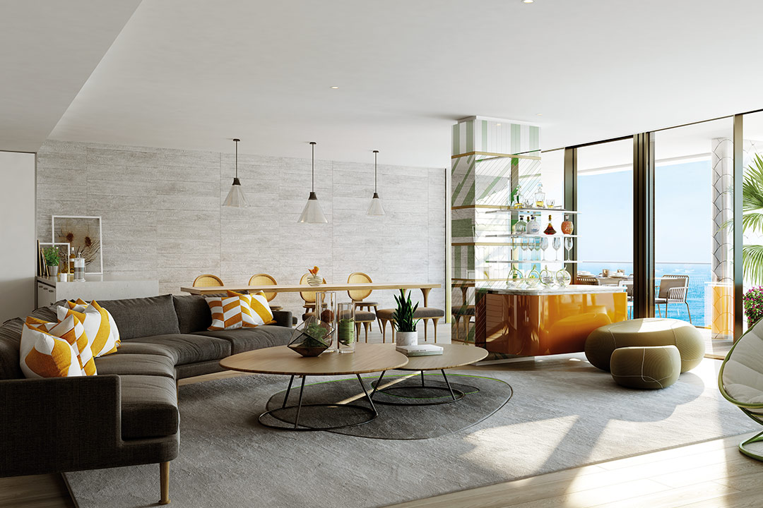 CGI of a Three Bedroom Residence Living Room