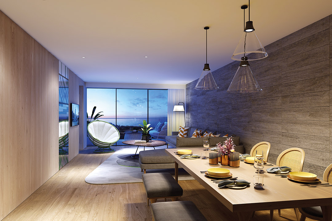 CGI of a Two Bedroom Residence Living and Dining Room